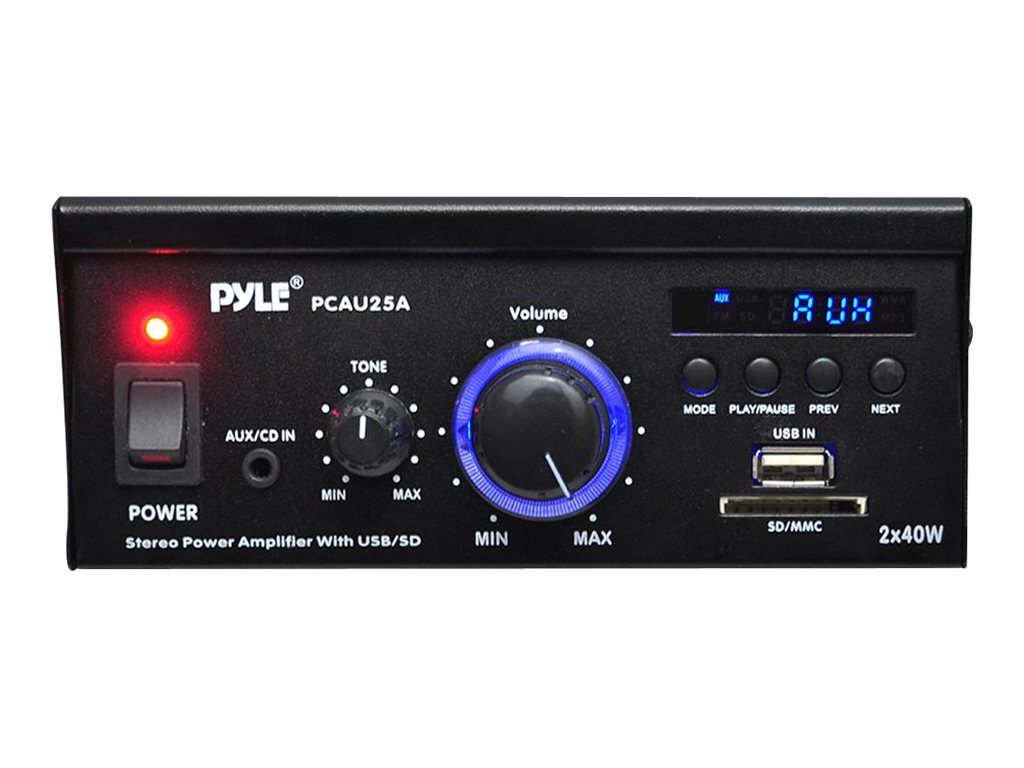 Pyle Mini 2X40 Watt Stereo Power Amplifier w  LED Display