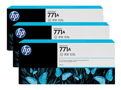 HP 771A 775-ml Light Gray Designjet Ink Cartridges (3-pack), B6Y46A, 15709291, Ink Cartridges & Ink Refill Kits