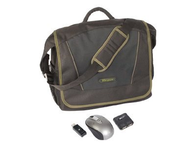Targus Incognito Black Olive Messenger Bundle, Mouse, Hub, BUS0159, 8810711, Carrying Cases - Notebook