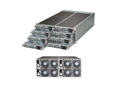 Supermicro SuperServer F617R2 4U RM 8-Node (8x)Xeon E5-2600 Family Max.2TB DDR3 16x2.5HS Bays 16xGbE 1620W RPS, SYS-F617R2-FT, 15241958, Servers