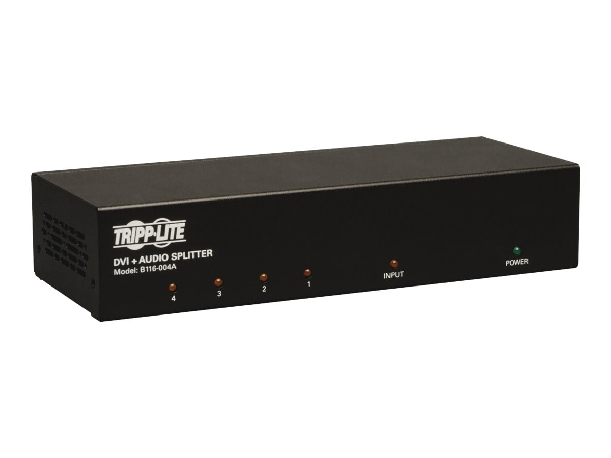 Tripp Lite 4-Port DVI Single Link Splitter Audio and Signal Booster, DVI F 4xF, B116-004A