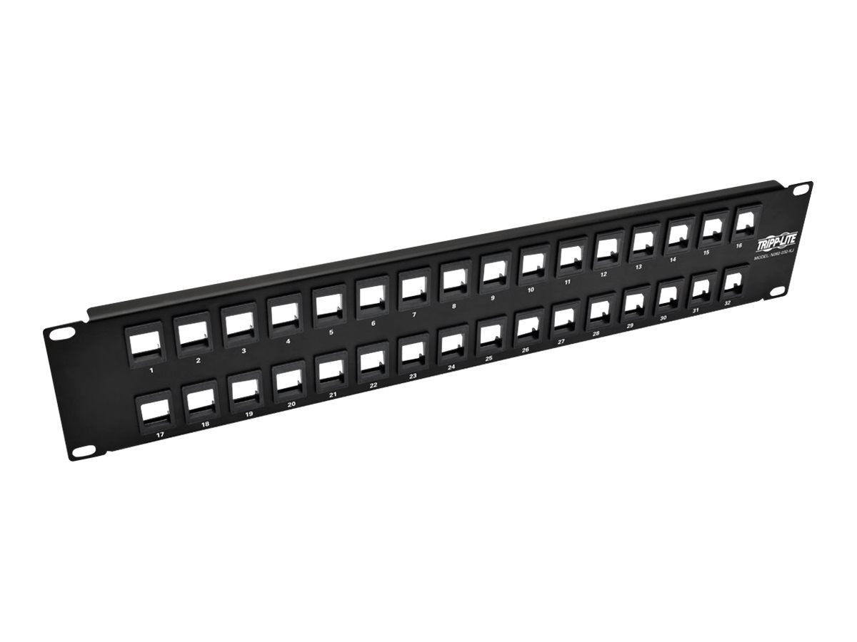 Tripp Lite 32-Port 2U RM Unshielded Blank Keystone Multimedia Patch Panel w RJ45, USB, HDMI, Cat5e 6