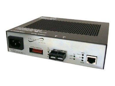 Transition PoE Media Converter, RJ-45 to 100BaseFX 1300NM MMF ST 2KM, DC Power, SFEPE1011-110, 5706045, PoE Accessories