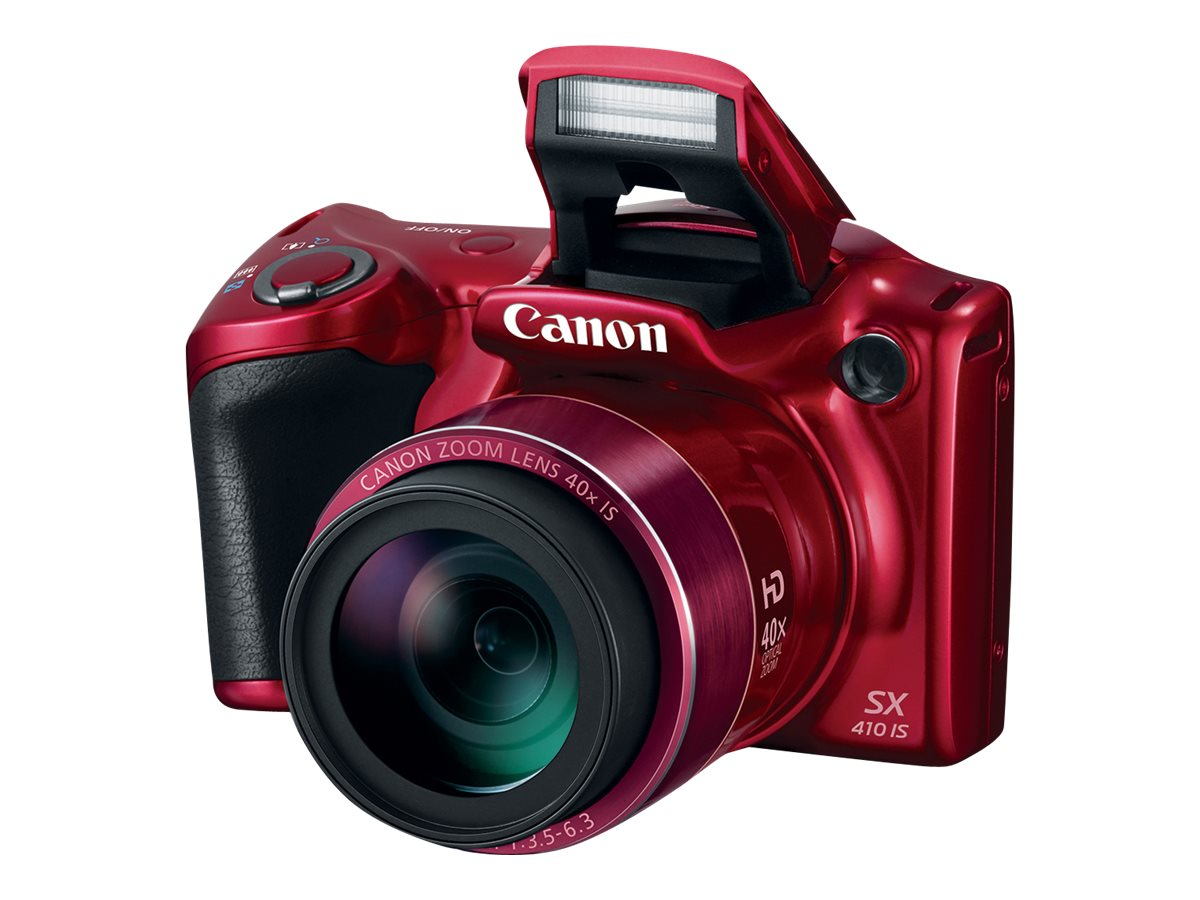 Canon PowerShot SX410 IS Digital Camera, 20MP, 40x Zoom, Red, 0108C001, 18891585, Cameras - Digital - Point & Shoot