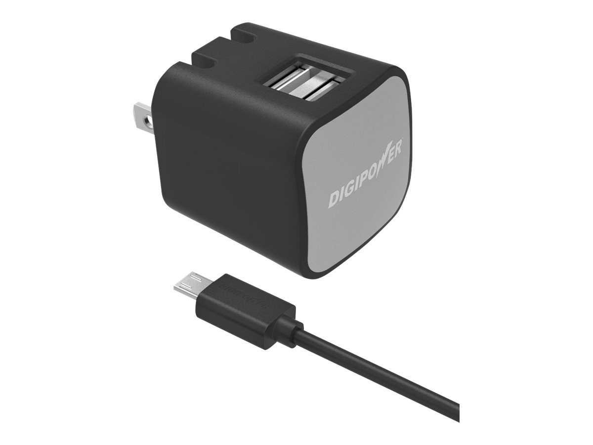 DigiPower 2.4 Amp Dual USB w  5ft Micro-USB Cable