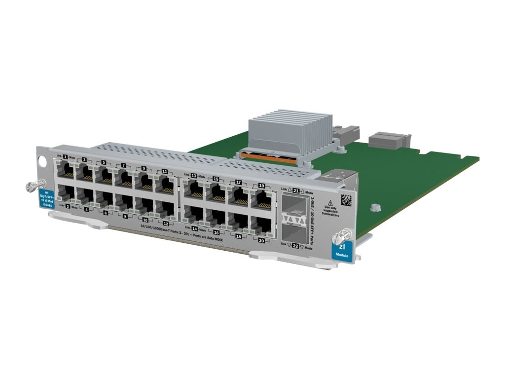HPE 20-port Gig-T 2-port SFP+ V2 ZL Module, J9548A, 12230022, Network Device Modules & Accessories