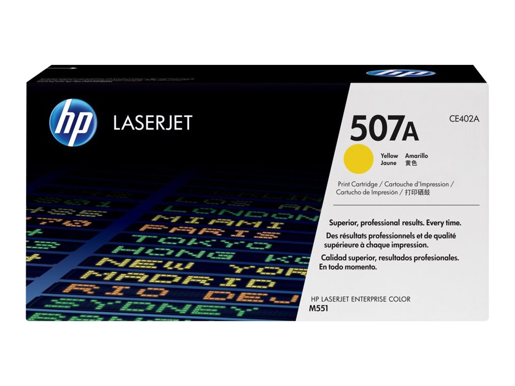 HP 507A (CE402A) Yellow Original LaserJet Toner Cartridge, CE402A, 13170172, Toner and Imaging Components