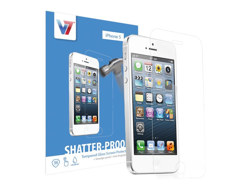 V7 Shatter-Proof Tempered Glass for iPhone 5, 5s, 5c, PS500-IPHN5TPG-3N