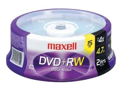 Maxell 4.7GB DVD+RW Media (15-pack Jewel Cases), 634046, 9706691, DVD Media