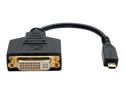 Tripp Lite Micro HDMI Male (Type D) to DVI-D Female Adapter Cable, 6in, P132-06N-MICRO, 16657787, Cables
