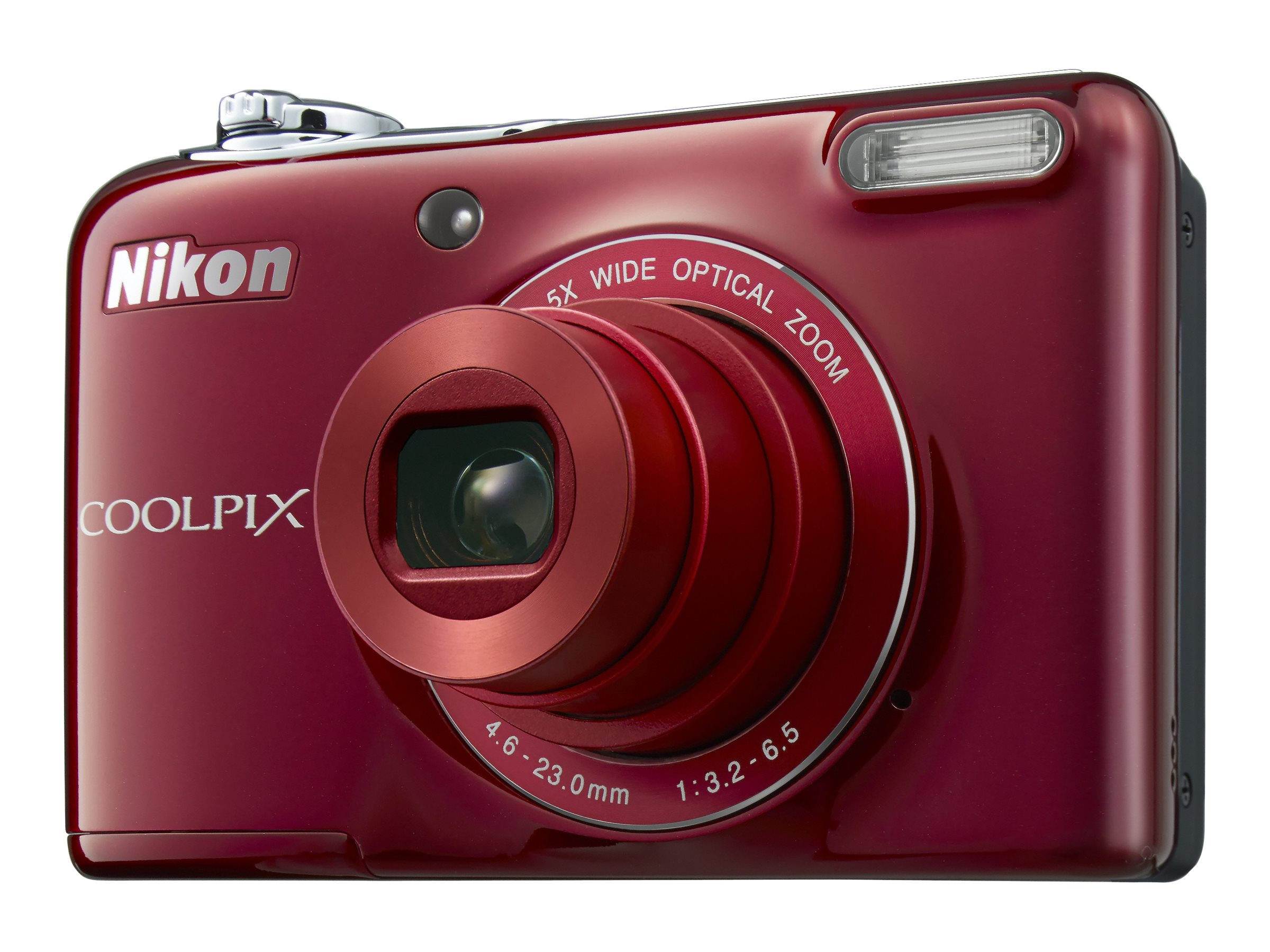 Nikon COOLPIX L32 Digital Camera, 20.1MP, 5x Zoom, Red, 26482, 29321641, Cameras - Digital - Point & Shoot