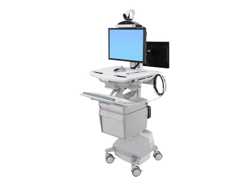 Ergotron StyleView Telepresence Cart, Back-to-Back Monitor, Powered, SV44-57E1-1, 18180978, Computer Carts - Medical