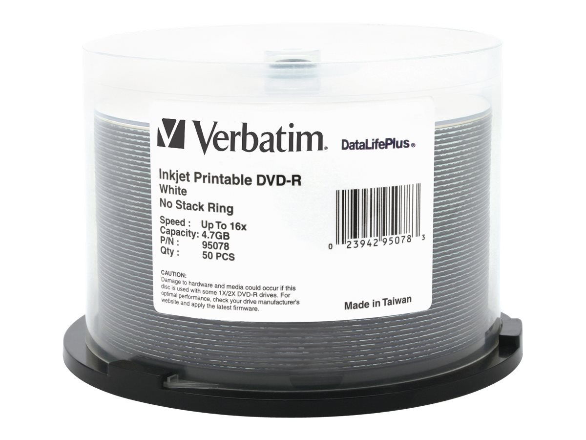 Verbatim 4.7GB 16X White Inkjet DVD-R Media (50-pack Spindle), 95078, 5705974, DVD Media