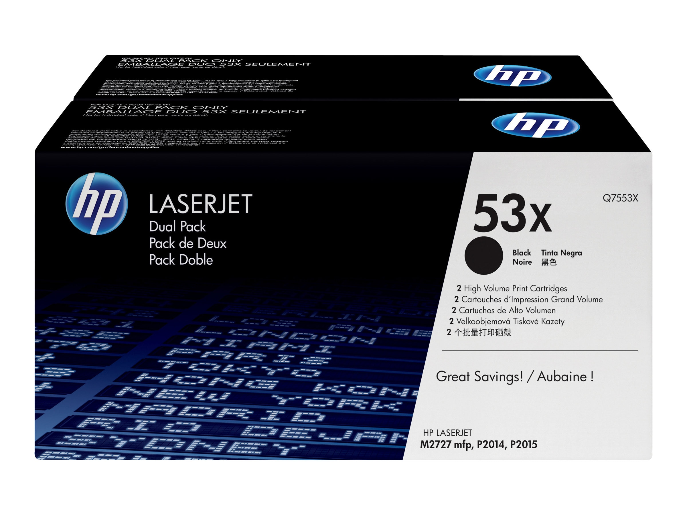 HP 53X (Q7553XD) 2-pack High Yield Black Original LaserJet Toner Cartridge for HP LaserJet P2015
