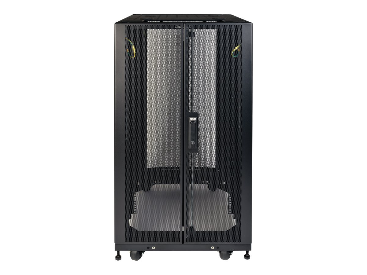 Tripp Lite SmartRack Shallow-Depth Rack Enclosure Cabinet w  Doors, Side Panels, Heavy-Duty Casters, 25U, SR25UBSD3