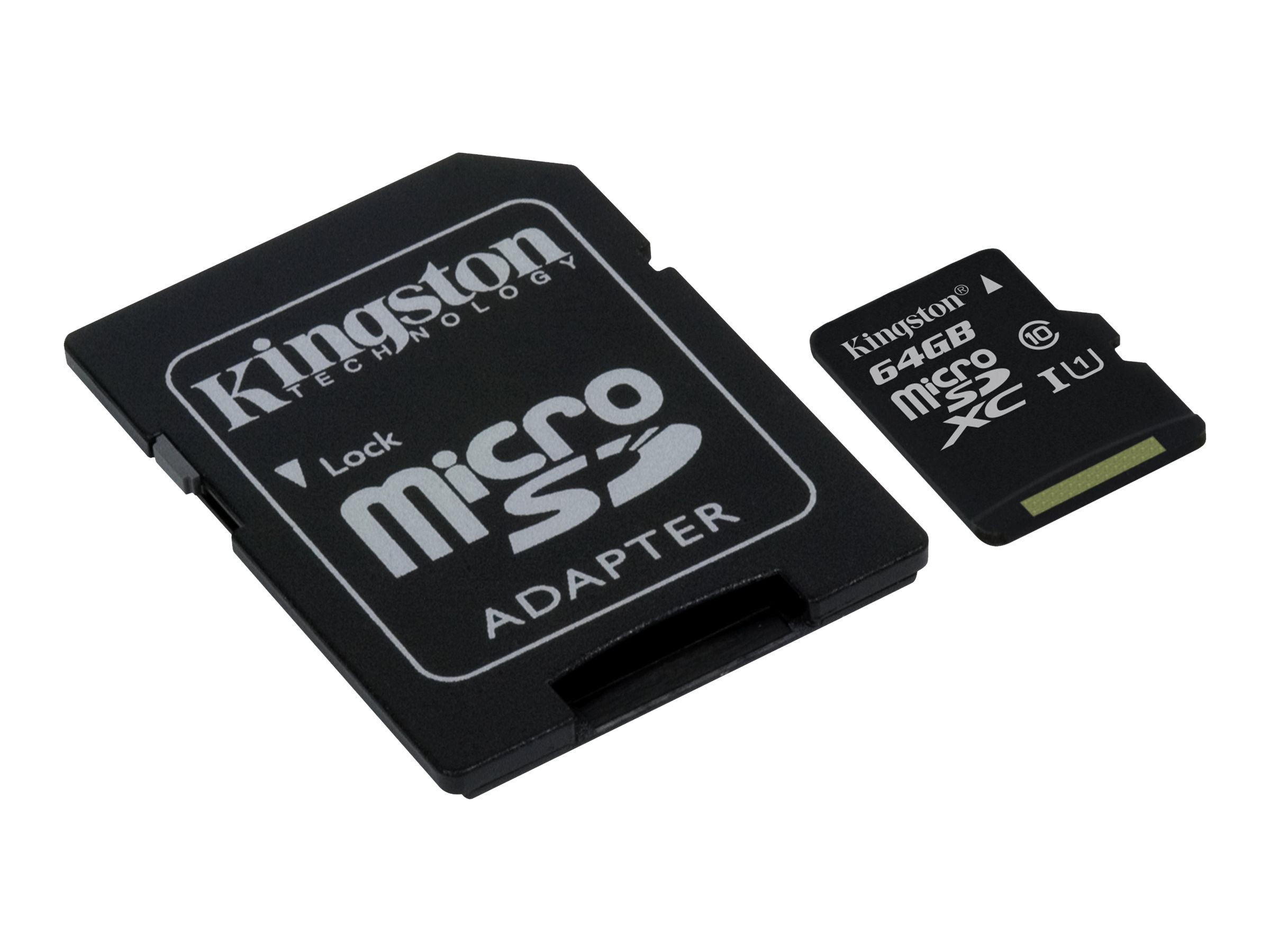 Kingston 64GB UHS-I microSDXC Flash Memory Card with SD Adapter, Class 10