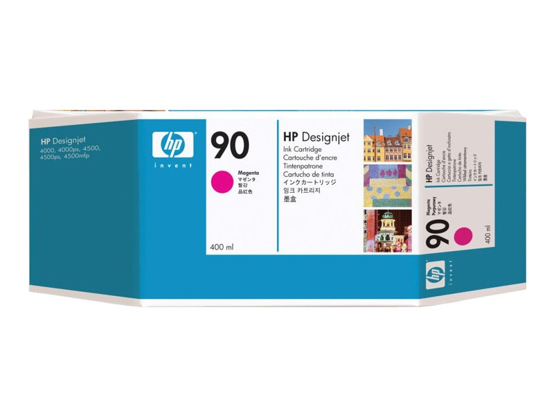 HP 90 Magenta Ink Cartridges for HP DesignJet 4000 Series Printers - 400-ml (3-pack), C5084A, 5718521, Ink Cartridges & Ink Refill Kits