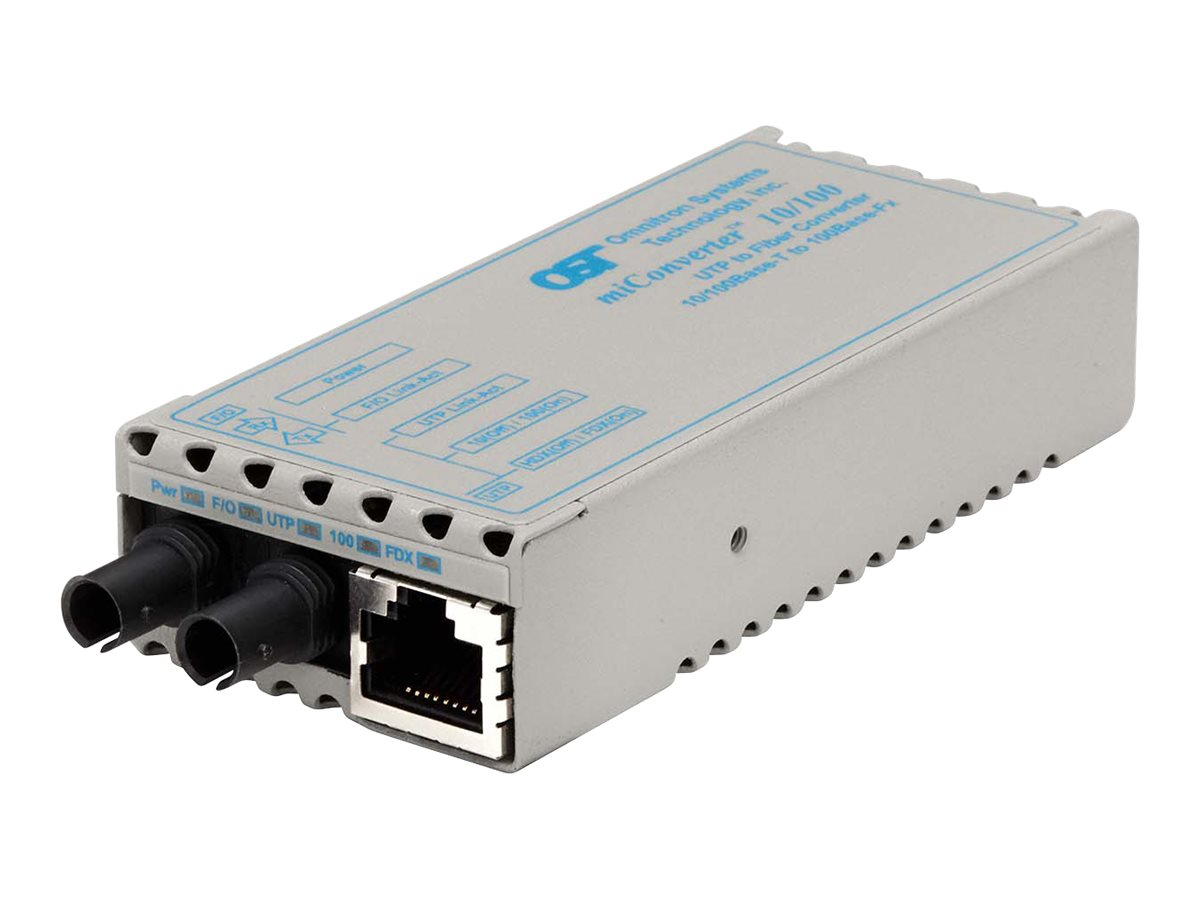 Omnitron miConverter 10 100 MM DF 1310 1310 Media Converter, ST Connectors 20km
