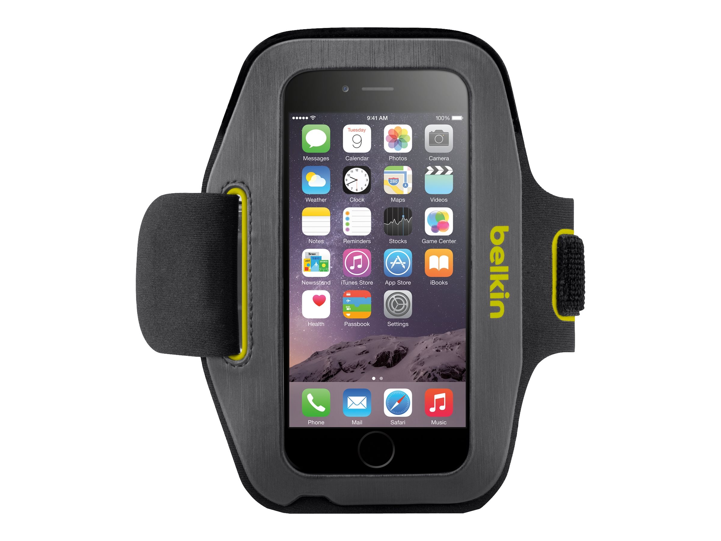 Belkin Sport-Fit Armband for iPhone 6, Blacktop Limelight, F8W500-C02, 17869870, Carrying Cases - Phones/PDAs