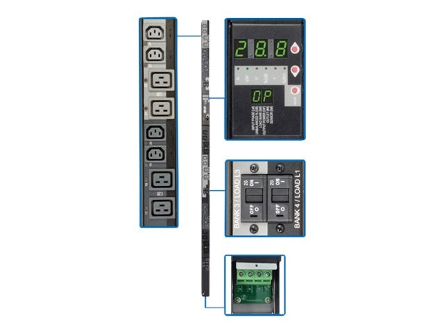 Tripp Lite Switched PDU 28.8kW 415V 3-Ph 240V Output 0U Hardwired Input (12) C13 (12) C19 Outlets, TAA, PDU3XVSRHWA