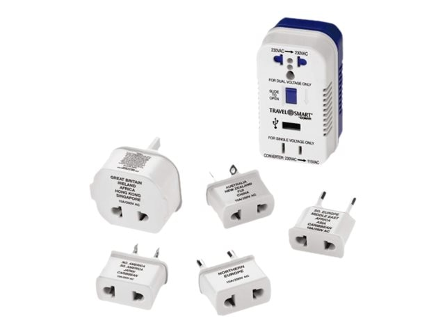 Conair Travel Smart 2-Outlet 1875W Converter Set w  USB Port, (5) Adapter Plugs, TS703CR