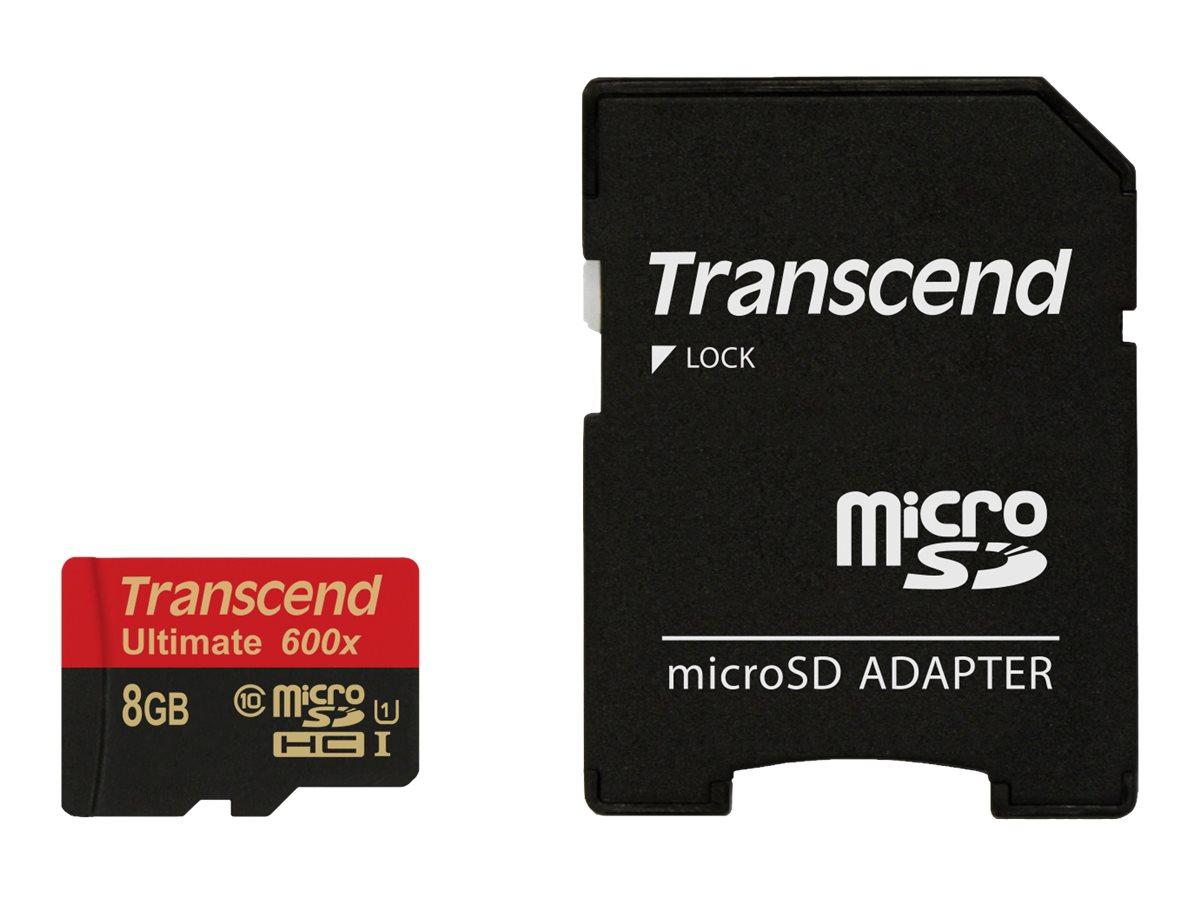 Transcend 8GB MicroSDHC Ultimate Flash Memory Card, Class 10 with MicroSD Adapter, TS8GUSDHC10U1, 16556206, Memory - Flash