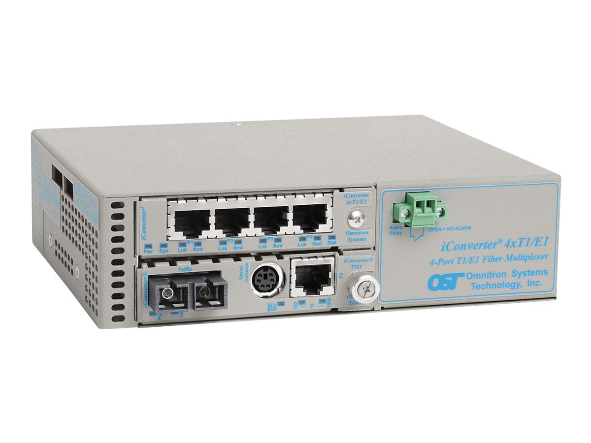 Omnitron iConverter 4xT1 E1 +10 100 1000 to SC SM 1.3 12KM18-60VDC with Management, 8823N-1-C, 14008767, Multiplexers