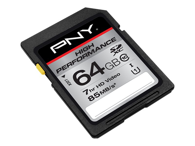 PNY 64GB SDXC UHS-I Flash Memory Card, Class 10, P-SDXC64GU185-GE