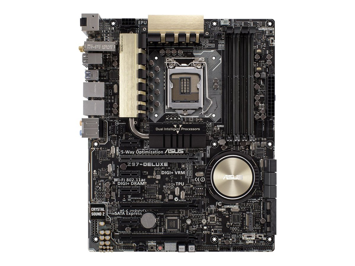 Asus Motherboard, Z97 DELUXE NFC 1150 Core i7 i5 i3 Family Max.32GB DDR3 8xSATA 7xPCIe GbE abgn ac BT NFC