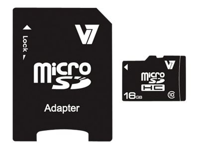 V7 16GB Micro SDHC Class 10 Flash Card with Adapter, VAMSDH16GCL10R-2N, 15213228, Memory - Flash