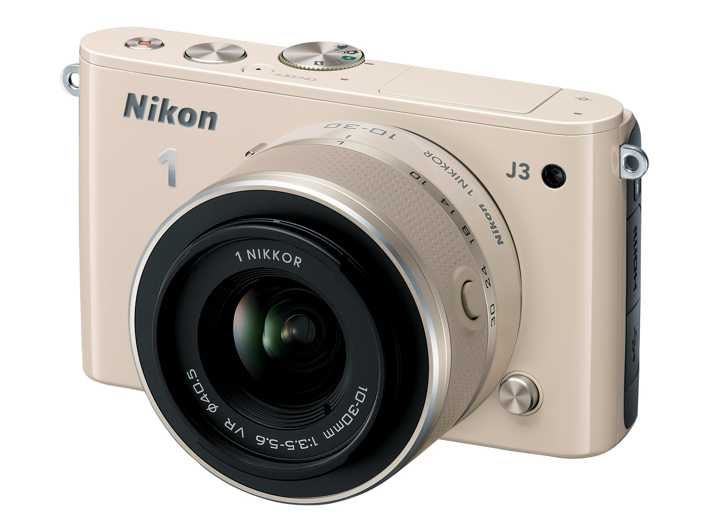 Nikon J3 Interchangable Lens Digital Camera, 14.2MP, Beige with 10-100mm Lens, 27661, 15256535, Cameras - Digital - SLR