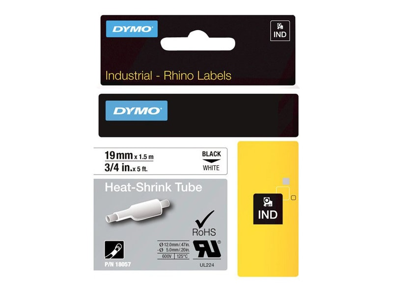 DYMO 3 4 Heat Shrink Tubing for RhinoPRO 5000, White, 18057, 5981661, Paper, Labels & Other Print Media