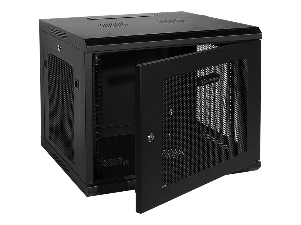 CyberPower Carbon 9U Wall Mount Enclosure, Perforated Front Rear Doors, Instant Rebate - Save $15, CR9U61001