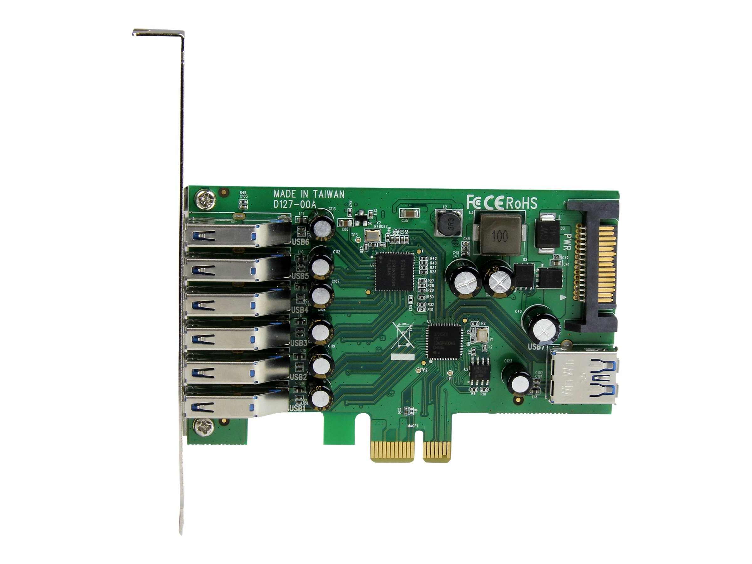 StarTech.com 7-port PCI Express USB 3.0 Card - Standard and Low-Profile Design, PEXUSB3S7