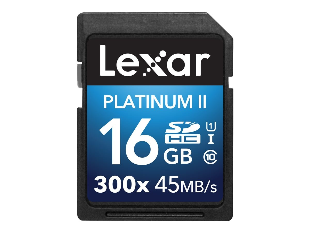Lexar 16GB Platinum II UHS-I 300x SDHC Flash Memory Card, Class 10, LSD16GBBNL300, 30357609, Memory - Flash