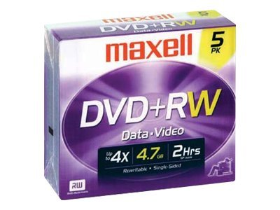 Maxell 4x 4.7GB DVD+RW Media (5-pack Jewel Cases), 634045