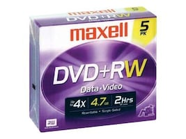 Maxell 4x 4.7GB DVD+RW Media (5-pack Jewel Cases), 634045, 6165201, DVD Media
