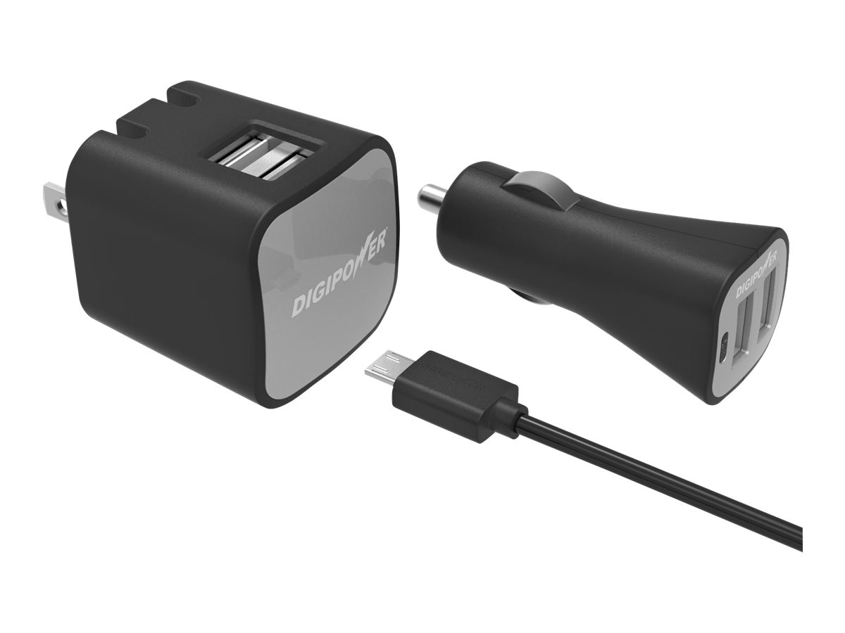 DigiPower Dual USB Wall and Car Charger Kit, IS-PK2DM