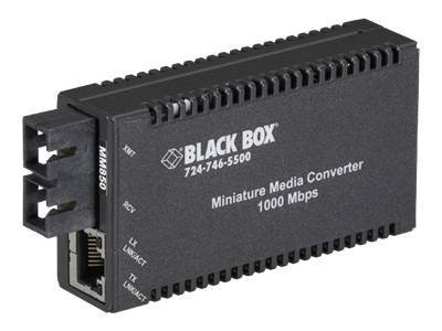 Black Box MultiPower Miniature Media Converter 1000Mbps Copper to 1000Mbps Fiber Multimode 850nm 220m, LGC010A-R2