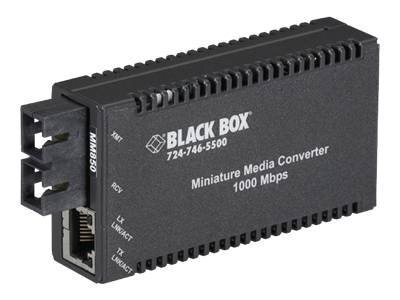 Black Box MultiPower Miniature Media Converter 1000Mbps Copper to 1000Mbps Fiber Multimode 850nm 220m, LGC010A-R2, 13361649, Network Transceivers