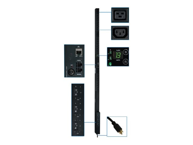 Tripp Lite PDU 3-Phase Monitored 208V 8.6kW L15-30P (30) C13 (6) C19 0U RM, PDU3VN10L1530, 12472283, Power Distribution Units