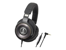 Audio-Technica SolidBass Over-Ear Headphones w  Controls, ATH-WS1100IS, 34040115, Headsets (w/ microphone)