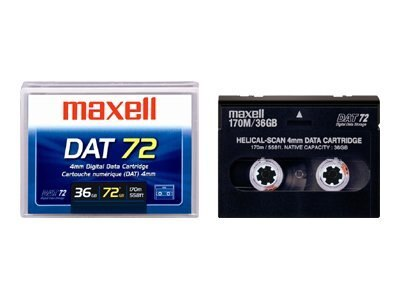 Maxell 36 72GB 4mm 170m DDS-5 DAT 72 Tape Cartridge, 200200, 454295, Tape Drive Cartridges & Accessories