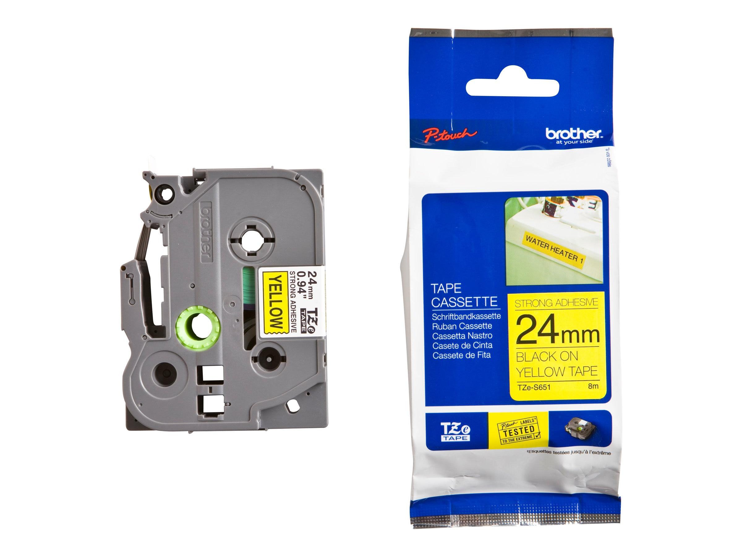 Brother 0.94 x 26.2' TZeS651 Black on Yellow Tape w  Extra Strength Adhesive
