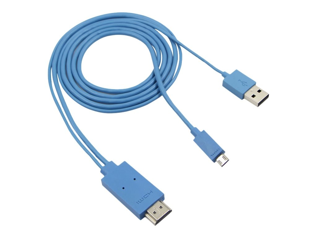 4Xem Micro USB to HDMI Adapter Cable for Samsung Galaxy S2 S3 S4 Note, Blue, 2m