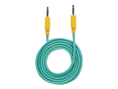 Manhattan 3.5mm M M Braided Audio Cable, Teal Yellow, 1.8m