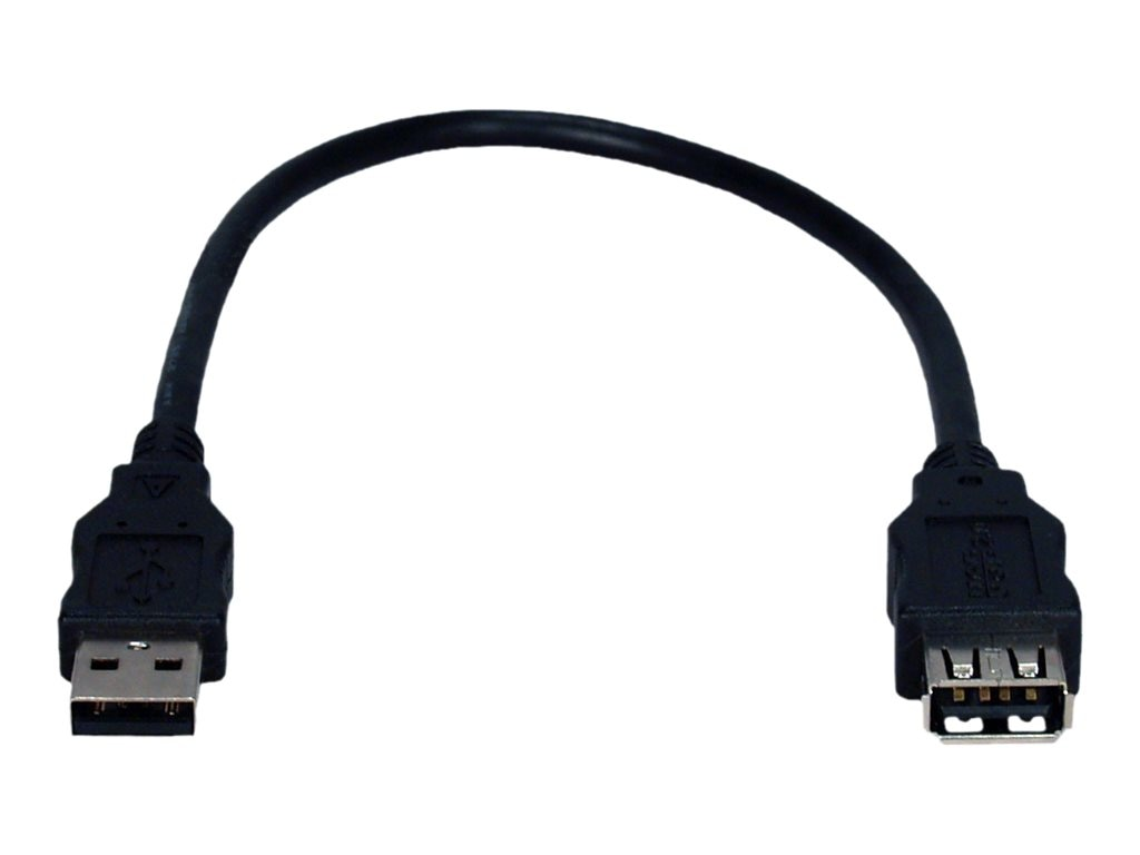 QVS USB 2.0 High-Speed 480Mbps PortSaver Cable, Black, 1ft