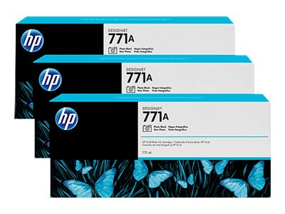 HP 771A 775-ml Photo Black Designjet Ink Cartridges (3-pack), B6Y45A, 15709282, Ink Cartridges & Ink Refill Kits