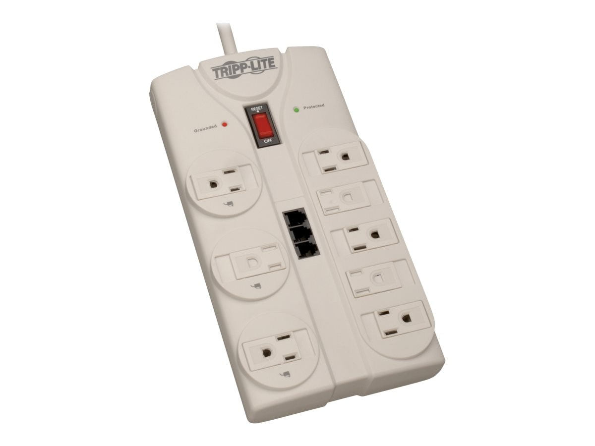 Tripp Lite Protect It! Surge (8) Outlet (6 Transformers) 8ft Cord 2160 Joules, TLP808TEL, 223875, Surge Suppressors
