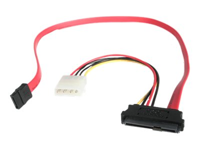 StarTech.com SAS 29-Pin to SATA Cable with LP4 Power, 18in, SAS729PW18